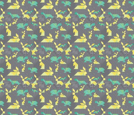 tangram tortoise and hare on dark grey fabric by groundnut_apiary on Spoonflower - custom fabric