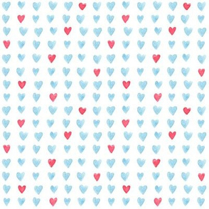 "4"" Red and Blue Watercolor Hearts"
