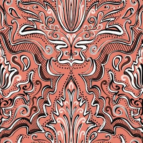 Coral peach sketchbook damask