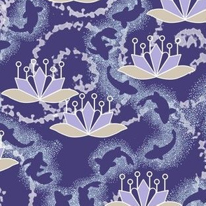 Lotus Blossom Koi Pond in Violet Purple and Khaki