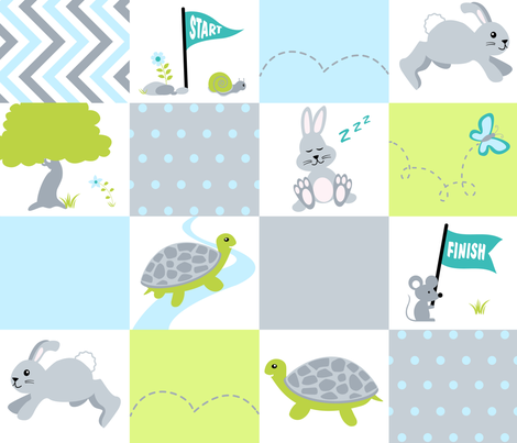 Tortoise and the Hare Race fabric by vintage_style on Spoonflower - custom fabric