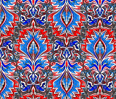 red white and blue damask large scale fabric by beesocks on Spoonflower - custom fabric