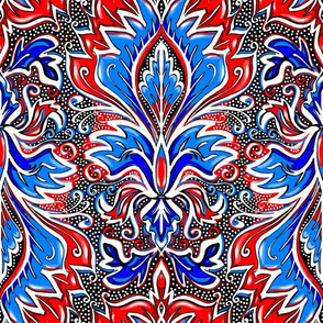 red white and blue damask large scale