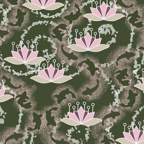 Koi Pond with Lotus Blossom in Olive Green and Pink