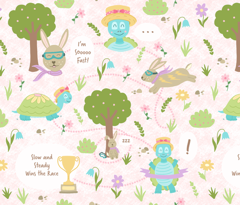 Slow and Steady Wins the Race fabric by moonpuff on Spoonflower - custom fabric