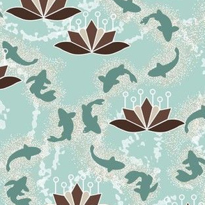 Lotus Blossoms and Koi Pond in Mint and Chocolate