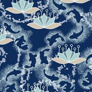 Lotus Blossoms and Koi Pond in Blue
