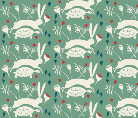 tortoise and hare  fabric by ali*b on Spoonflower - custom fabric