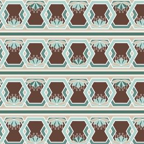 Hexagon and Lotus Blossom Borders, Stripes in Mint and Chocolate