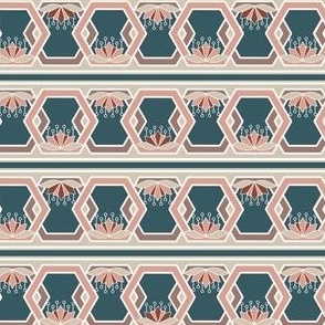 Hexagon and Lotus Stripe Borders in Peach and Blue