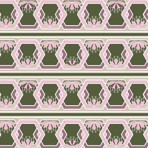 Hexagon and Lotus Borders, Stripes in Pink Rose and Olive Green