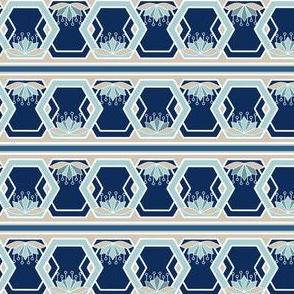 Lotus Blossom Hexagon Borders, Stripes in Blue, Khaki, and Aqua