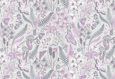 Orchid Botanical Study #021318 (orchid on silver) fabric by helenpdesigns on Spoonflower - custom fabric