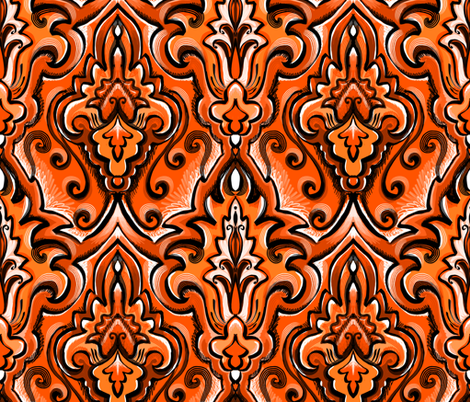 orange monochromatic damas fabric by beesocks on Spoonflower - custom fabric
