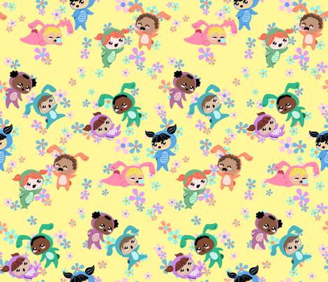 Turtle Girls and Bunny Boys fabric by cynicalwoman on Spoonflower - custom fabric