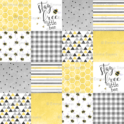 Stay free little bee - wholecloth cheater quilt