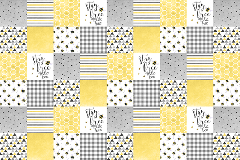 Stay free little bee - wholecloth cheater quilt fabric by longdogcustomdesigns on Spoonflower - custom fabric