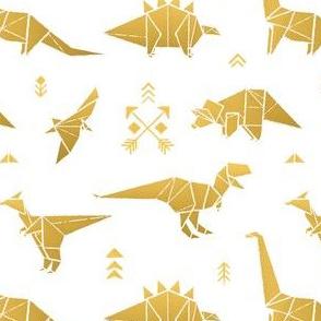 Golden origami dinos