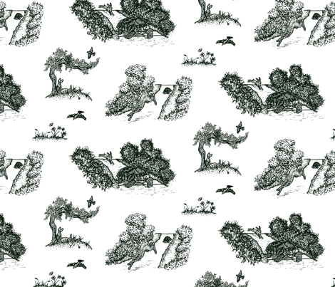 Tortoise And Hare Toile fabric by green_lion_goods on Spoonflower - custom fabric