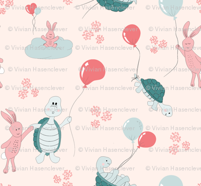 turtle and bunny balloon race