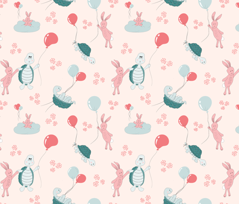 turtle and bunny balloon race fabric by vivdesign on Spoonflower - custom fabric