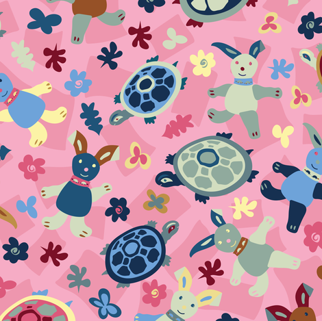 Tortoise & Hare dreams-Large Version fabric by cleolovescolor on Spoonflower - custom fabric