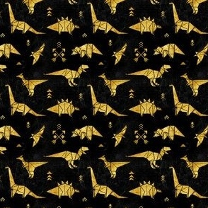 Black and gold origami dinos