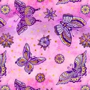 Pink Rose Butterflies