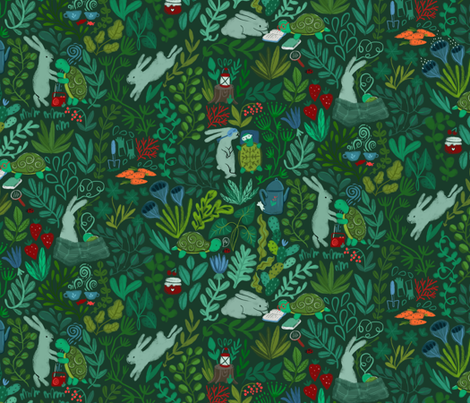 Happy together. Old friends. Tortoise & the Hare. Forest fairy tale. fabric by kostolom3000 on Spoonflower - custom fabric