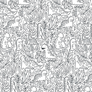 Tropical leaves and ancient dinosaurs design. Cute dino pattern.