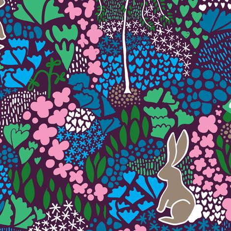 Aesop's Garden Purple Background fabric by samantha_w on Spoonflower - custom fabric