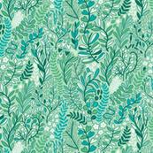 Botanical leaves pattern. Nature design. Small. Mint.
