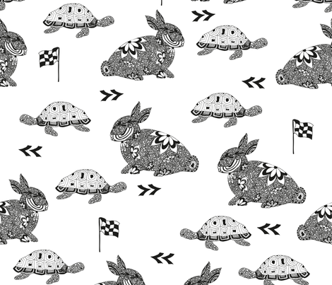 Hare_TortoiseChallenge fabric by maredesigns on Spoonflower - custom fabric