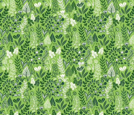 Botanical leaves pattern. Nature design. Green. fabric by kostolom3000 on Spoonflower - custom fabric