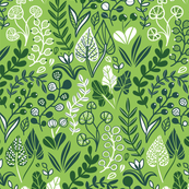 Botanical leaves pattern. Nature design. Green.