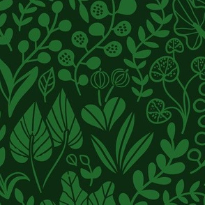 Botanical leaves pattern. Nature design. Green dark.