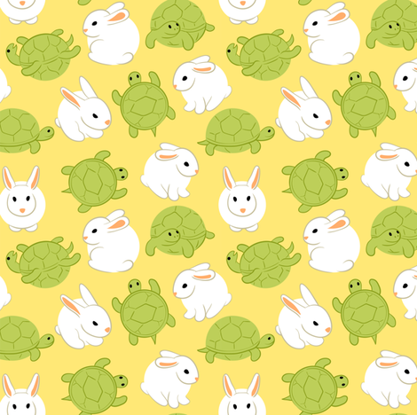 hares and tortoises (yellow) fabric by svetlana_prikhnenko on Spoonflower - custom fabric