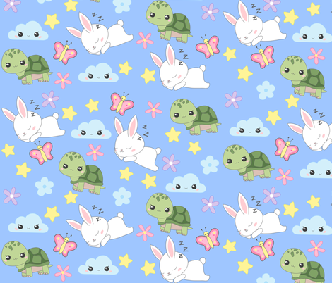 Tortoise and the Hare fabric by nagoreillustrations on Spoonflower - custom fabric