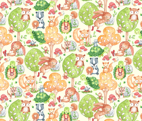 Tortoise, Hare and friends fabric by lauraflorencedesign on Spoonflower - custom fabric