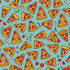 Funny pizza pattern. Cartoon Italian food design. Mint