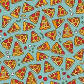 Funny pizza pattern. Cartoon Italian food design. Mint