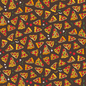 Funny pizza pattern. Cartoon Italian food design. Brown