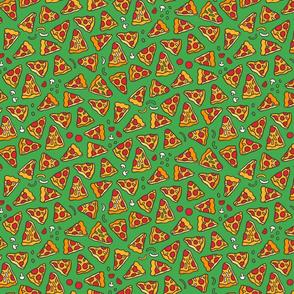 Funny pizza pattern. Cartoon Italian food design. Green