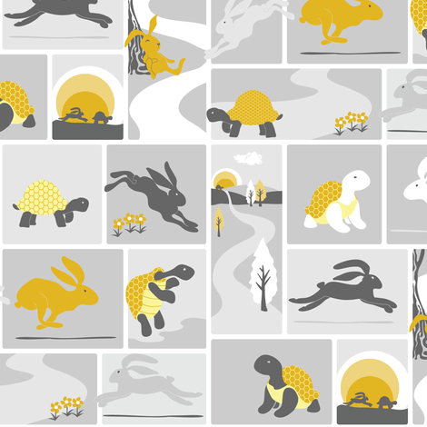 The tortoise and the hare fabric by ebygomm on Spoonflower - custom fabric