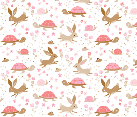 tortoise, hare, mouse and snail fabric by heleenvanbuul on Spoonflower - custom fabric