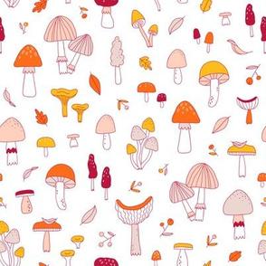 Doodle mushrooms pattern