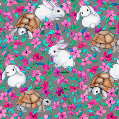 Tortoises, Baby Bunnies and Blossoms on Grey fabric by micklyn on Spoonflower - custom fabric