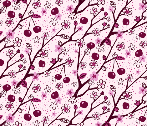 Cherry Pink fabric by seesawboomerang on Spoonflower - custom fabric