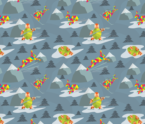 Tortoise and Hare Winter Race fabric by stargazingseamstress on Spoonflower - custom fabric