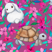 Tortoises, Baby Bunnies and Blossoms on Plum
